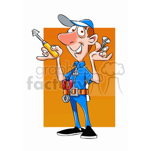 felix the cartoon handy man character holding a screw driver clipart. Royalty-free image # 397616