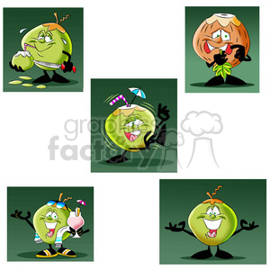cartoon coconut character mascot charlie set clipart. Royalty-free image # 397636