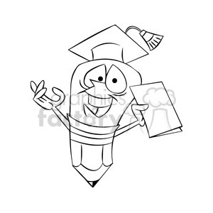 woody the cartoon pencil character graduating from school black white clipart. Commercial use image # 397696