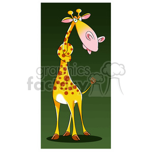 jeffery the cartoon giraffe character with neck in a knot clipart. Royalty-free image # 397726