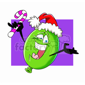 cartoon christmas balloon vector image mascot happy with a candy cane clipart. Royalty-free image # 397766