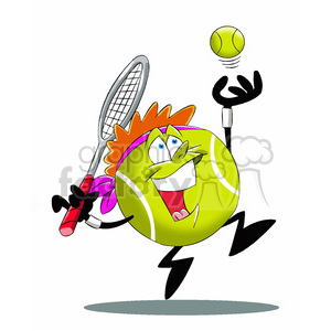 terry the tennis ball cartoon character serving tennis game clipart. Royalty-free image # 397786