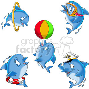 dallas the cartoon dolphin image set clipart. Royalty-free image # 397806