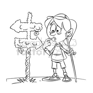 trina the cartoon girl character hiking and lost black white clipart. Royalty-free image # 397856