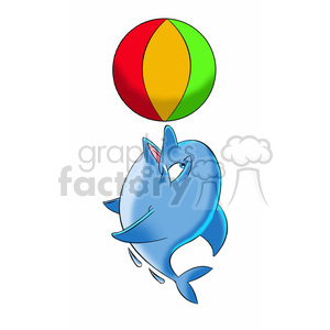 dallas the cartoon dolphin playing with beach ball clipart. Commercial use image # 397866