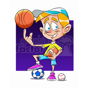 small boy playing all sports cartoon clipart. Commercial use image # 397916