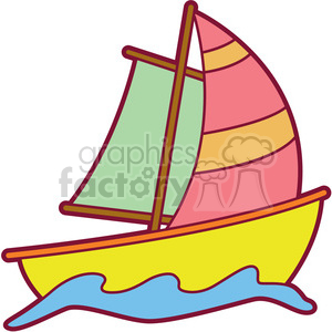 colorful cartoon sailboat clipart. Commercial use image # 397924