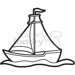 cartoon sailboat outline clipart. Commercial use image # 397944