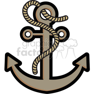 anchor with rope vector illustration clipart. Royalty-free image # 398054