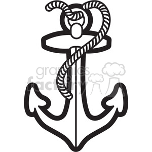 boat anchor with rope graphic illustration black white