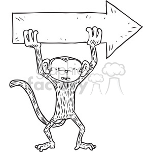 monkey holding arrow sign vector illustration clipart. Royalty-free image # 398094