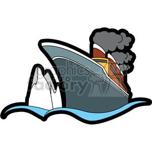 ship in the ocean close to iceberg clipart. Commercial use image # 398144