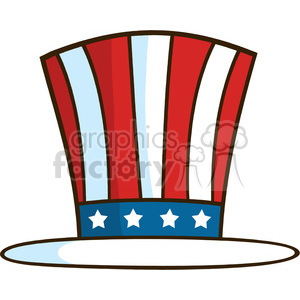 royalty free rf clipart illustration cartoon illustration of patriotic american top hat vector illustration isolated on white clipart. Royalty-free image # 398875