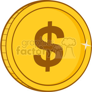 9246 royalty free rf clipart illustration golden dollar vector illustration isolated on white background clipart. Commercial use image # 398895