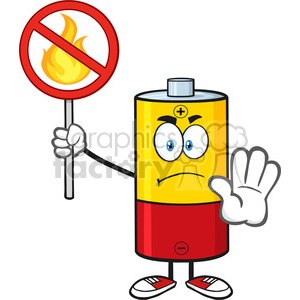 royalty free rf clipart illustration angry battery cartoon mascot character holding a no fire sign vector illustration isolated on white 01 clipart. Commercial use image # 398914