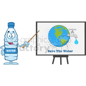 9387 water plastic bottle cartoon mascot character using a pointer stick by a board with earth globe with water faucet and drop vector illustration isolated on white clipart. Royalty-free image # 398932