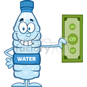 royalty free rf clipart illustration smiling water plastic bottle cartoon mascot character holding a dollar bill vector illustration isolated on white clipart. Commercial use image # 398942