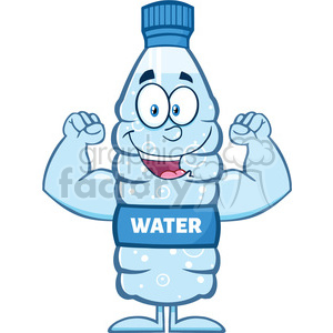 royalty free rf clipart illustration happy water plastic bottle cartoon mascot character flexing his muscles vector illustration isolated on white