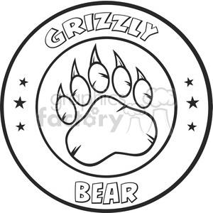 royalty free rf clipart illustration black and white bear paw with claws circle logo design vector illustration isolated on white background clipart. Royalty-free image # 398970