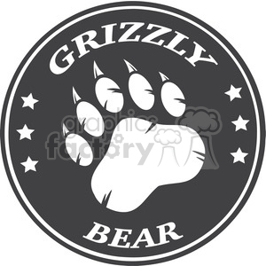 royalty free rf clipart illustration bear paw print circle logo design vector illustration clipart. Royalty-free image # 398990