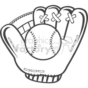 royalty free rf clipart illustration black and white baseball glove and ball vector illustration isolated on white background clipart. Royalty-free image # 399000