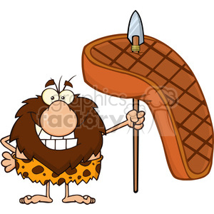 9917 smiling male caveman cartoon mascot character holding a spear with big grilled steak vector illustration clipart. Royalty-free image # 399030