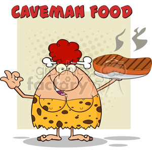 red hair cave woman cartoon mascot character holding a big steak and gesturing ok vector illustration with text caveman food clipart. Royalty-free image # 399040