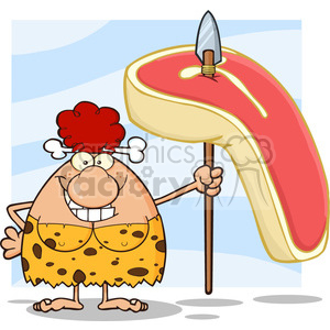 10076 smiling red hair cave woman cartoon mascot character holding a spear with big raw steak vector illustration