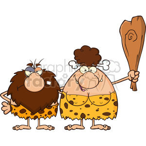 caveman couple cartoon mascot characters with brunette woman holding a club vector illustration clipart. Royalty-free image # 399110