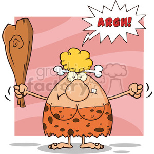 angry cave woman cartoon mascot character holding up a fist and a club vector illustration with speech bubble and text argh clipart. Royalty-free image # 399120