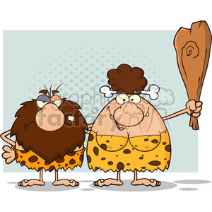 10059 caveman couple cartoon mascot characters with brunette woman holding a club vector illustration clipart. Royalty-free image # 399140