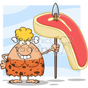smiling cave woman cartoon mascot character holding a spear with big raw steak vector illustration clipart. Royalty-free image # 399170