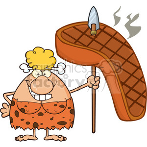 smiling cave woman cartoon mascot character holding a spear with big grilled steak vector illustration clipart. Commercial use image # 399180