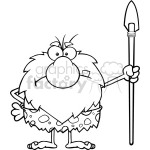 black and white angry male caveman cartoon mascot character standing with a spear vector illustration clipart. Royalty-free image # 399190