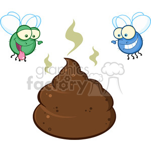 royalty free rf clipart illustration two flies hovering over pile of smelly poop cartoon characters vector illustration isolated on white backgrond clipart. Royalty-free image # 399220