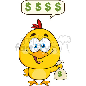 royalty free rf clipart illustration yellow chick cartoon character holding money bag and talking vector illustration isolated on white clipart. Commercial use image # 399240