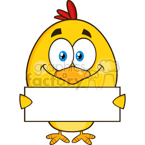 royalty free rf clipart illustration yellow chick cartoon character holding a blank sign vector illustration isolated on white clipart. Royalty-free image # 399250