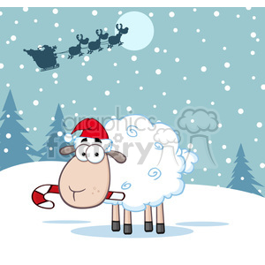 royalty free rf clipart illustration christmas sheep cartoon character vector illustration with background clipart. Commercial use image # 399260