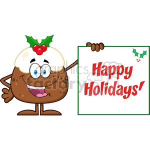 royalty free rf clipart illustration jolly christmas pudding cartoon character presenting a sign with a holly corner and text vector illustration isolated on white clipart. Royalty-free image # 399270