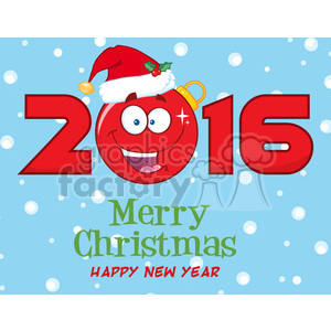 royalty free rf clipart illustration merry christma and happy new year greeting with christmas ball cartoon character and nubers vector illustration greeting card clipart. Royalty-free image # 399280