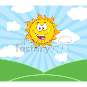 royalty free rf clipart illustration sunshine happy sun mascot cartoon character over landscape vector illustration with suburst background clipart. Royalty-free image # 399290