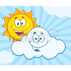 royalty free rf clipart illustration happy summer sun and smiling cloud mascot cartoon characters vector illustration with background clipart. Royalty-free image # 399319