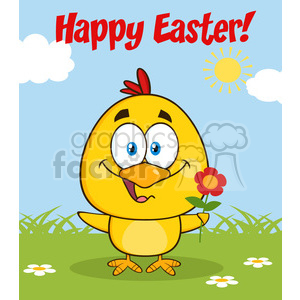 royalty free rf clipart illustration cute yellow chick cartoon character holding a flower and happy easter greeting vector illustration clipart. Commercial use image # 399329