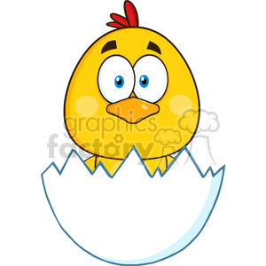 royalty free rf clipart illustration cute yellow chick cartoon character hatching from an egg vector illustration isolated on white