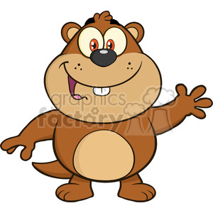 royalty free rf clipart illustration happy marmot cartoon character waving vector illustration isolated on white clipart. Royalty-free image # 399359