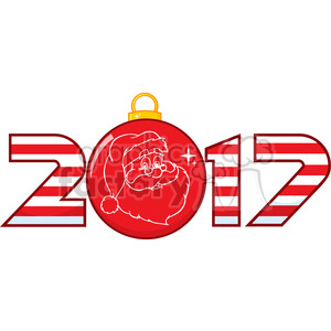 2017 new years eve greeting with christmas ball and santa face vector clipart. Royalty-free image # 399369