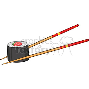 illustration sushi roll with chopsticks vector illustration isolated on white clipart. Royalty-free image # 399379