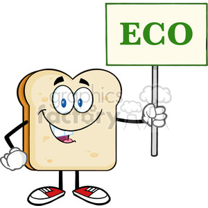 illustration smiling bread slice cartoon mascot character holding a sign with text eco vector illustration isolated on white background clipart. Royalty-free image # 399389