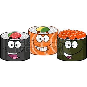 illustration three sushi roll cartoon mascot characters vector illustration isolated on white clipart. Commercial use image # 399419