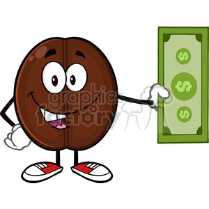 illustration coffee bean cartoon mascot character holding a dollar bill vector illustration isolated on white clipart. Commercial use image # 399470